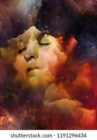 Will Universe Remember Us series. Composition of woman's face, nebula and stars with metaphorical relationship to Universe, Nature, human mind and imagination