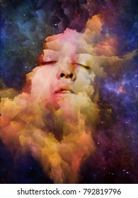 Will Universe Remember Us series. Design made of woman's face, nebula and stars to serve as backdrop for projects related to Universe, Nature, human mind and imagination