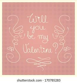 Will you be my Valentine?  pink retro Valentine s Day card
