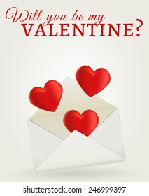 Will you be my Valentine? Valentine's Day greeting card. Raster illustration.