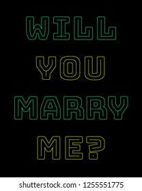 Will you marry me colorful illustration