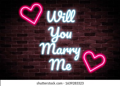Will you marry me text neon banner,Wedding card, luminous signboard, nightly.