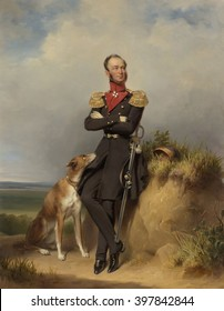 William II, King of the Netherlands, by Jan Adam Kruseman, 1839, Dutch painting, oil on canvas. Wearing a military uniform, he is with his dog on sand dunes