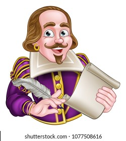 William Shakespeare cartoon character holding a feather quill and scroll