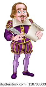 William Shakespeare cartoon character holding a feather quill pen and scroll