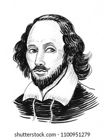 William Shakespeare. Ink black and white drawing
