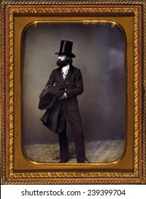 William Sidney Mount (1807-1868) American master painter of everyday life on Long Island, New York including dignified portrayals of African Africans. Daguerreotype portrait by Mathew Brady, ca.1856.