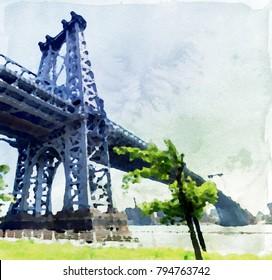 Williamsburg bridge between Manhattan and Brooklyn in watercolor