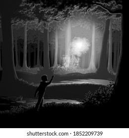 A will-o-the-wisp in a swamp at night.