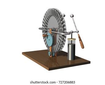 Wimshurst machine backside. 3D illustration electrostatic generator isolated on a white background. Physics.