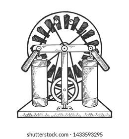 Wimshurst machine electrostatic generator sketch engraving raster illustration. Scratch board style imitation. Hand drawn image.