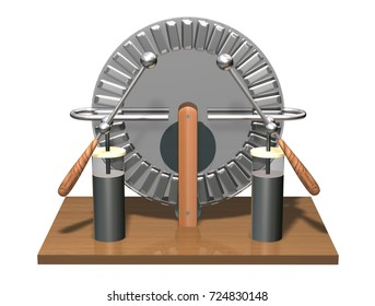 Wimshurst machine with two Leyden jars. 3D illustration of electrostatic generator. Electric discharge. Physics. Science classrooms experiment.