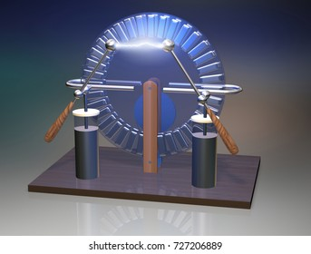 Wimshurst machine with two Leyden jars. 3D illustration of electrostatic generator. Physics, science classrooms experiment .