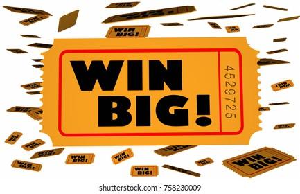 Win Big Tickets Falling Enter Contest Winner 3d Illustration