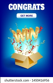 WIN gold text. Open box with confetti explosion inside and golden win word. Flying particles from giftbox illustration.