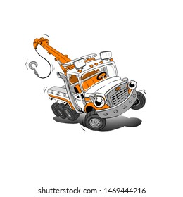 Winch on the back of a yellow cute tow-truck cartoon., illustration