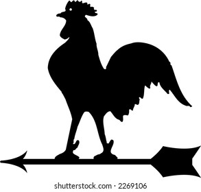 Wind direction rooster in black and white