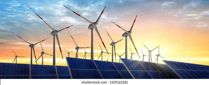 Wind farm and solar panels in the sunset - 3D illustration