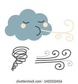 Wind flat illustration on white