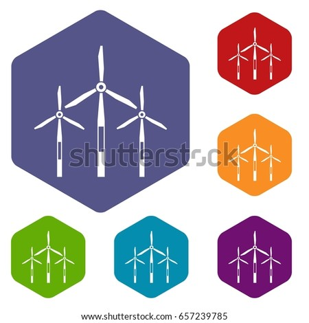 Wind Generator Turbines Icons Set Hexagon Stock Illustration
