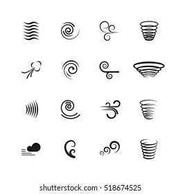 Wind, motion icons. Set of swirl and wave, vortex and tornado illustration