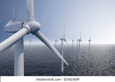 Wind park on ocean with blue sky