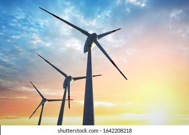 Wind park - Wind turbines - 3D illustration