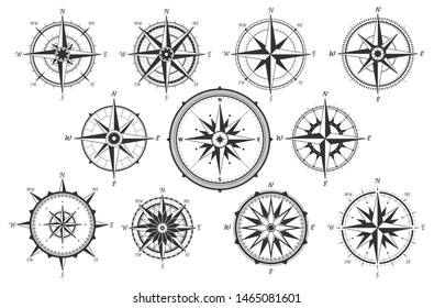 Wind rose. Map directions vintage compass. Ancient marine wind measure  icons isolated. Isolated old sea or ocean navigation compass for ocean or marine retro cartography, boat or ship
