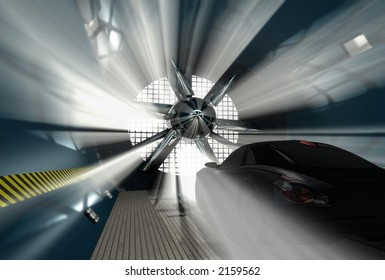 Wind tunnel for car test with light on background.