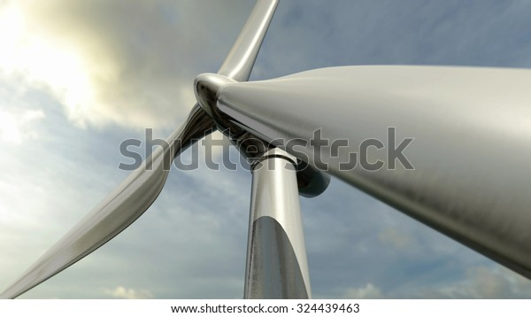 Wind turbine. 3D rendering