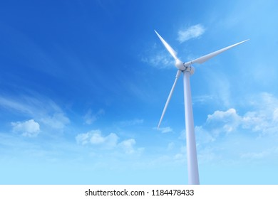 Wind Turbine against and blue sky with light clouds. Photoreal 3D illustration.