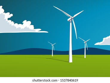 Wind turbine in the countryside, Illustration