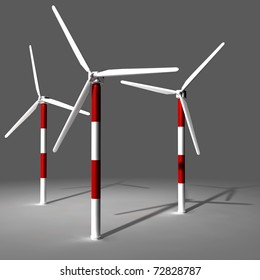 Wind turbine farm 3D render