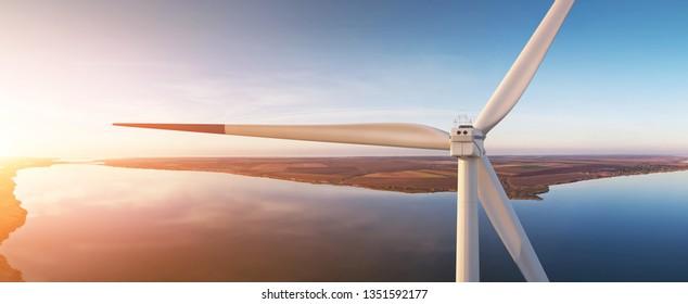 Wind turbine generating electricity. 3D illustration. Wind turbines: 3d-model. Background: photo-panorama. Sunset.