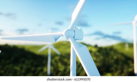wind turbine. monderfull landscape. Ecological concept 3d rendering