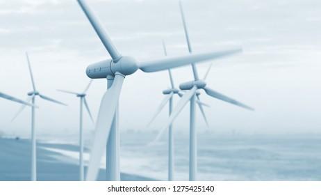Wind turbine power generators. Renewable energy background. 3D render
