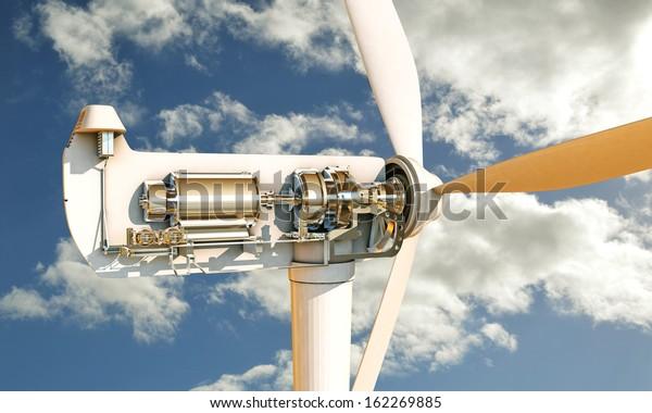 sección de turbinas eólicas