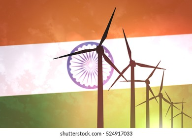 Wind turbines on the background of the flag India