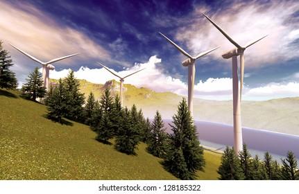 Wind turbines onshore in picturesque landscape