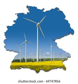 Wind turbines in a rapeseed field in an abstract map of Germany
