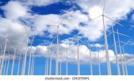 Wind turbines - renewable energy concept. 3D rendering