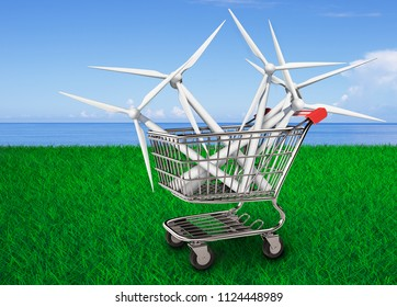 Wind turbines in the shopping cart, concept of ECO and green energy, with blue sky and green grass background, 3D illustration.