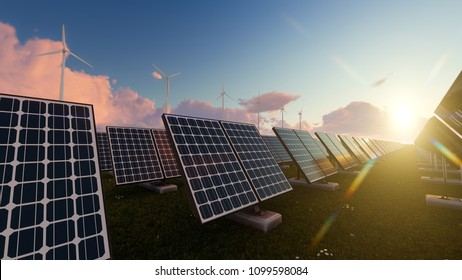 Wind Turbines and Solar Panels with a Bright Sun Above 3d rendering