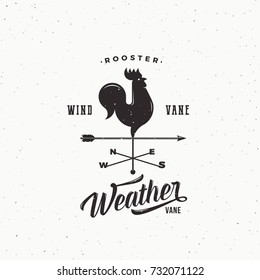 Wind Vane Rooster Abstract Retro Style Sign, Emblem or Logo Template. Vintage Shabby Texture. Isolated. Raster copy.