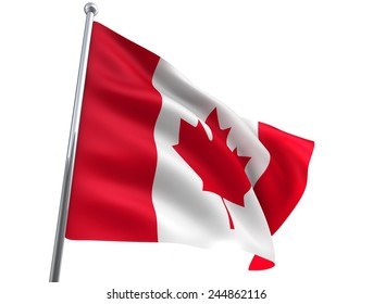 Wind Wave Canada Flag in High Quality Isolated on White with Flagpole