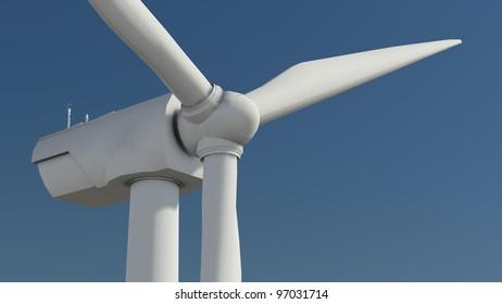 Windfarm in Meadow 3D render