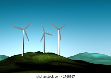 Windfarm on a hilltop with blue sky