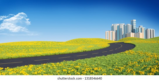 Winding road leads to the big city. 3D illustration