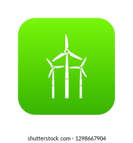 Windmill icon digital green for any design isolated on white illustration