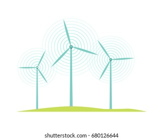 Windmill icons isolated on white. Flat design style. Mill converts energy of wind into rotational energy by means of vanes called sails or blades. Wind turbines used to generate electricit.
